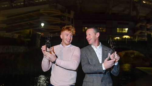 Nephew and uncle: Lynch and Carey with their GWA awards
