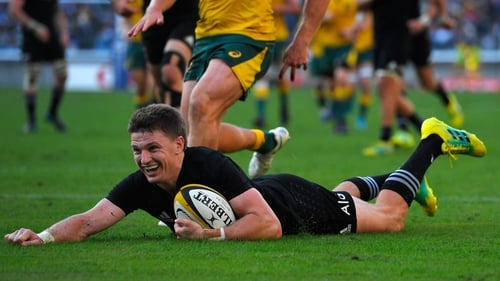 Beauden Barrett scoring his try