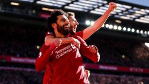 Mo Salah celebrates his goal against Cardiff City