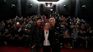 The Edge and Adam Clayton with Savoy Cinema's Sandra O'Donoghue