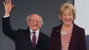 President Michael D Higgins celebrates his victory at Dublin Castle this evening