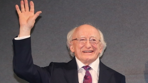 A big hand for the poet: President Michael D Higgins at Dublin Castle following his inauguration for a second term