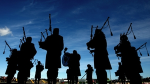 The Killorglin and District Pipe Band play before the Kerry SFC Club final between Dr Crokes and Dingle