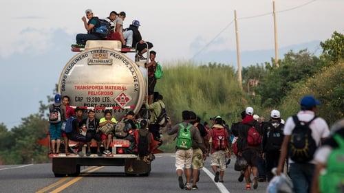 Honduran migrants taking part in a caravan heading to the US