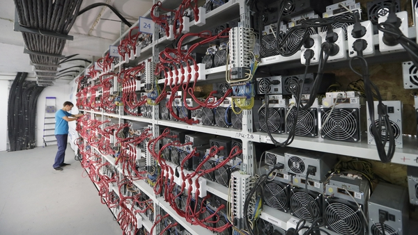 Inside CryptoUniverse, Russia's largest cryptocurrency mining centre. It occupies over 4,000 square meters and contains 3,000 computers. Photo: EPA