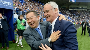 Vichai Srivaddhanaprabha and Claudio Ranieri celebrate winning the 2016 Premier League title