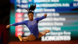 Simone Biles in action at the Doha arena