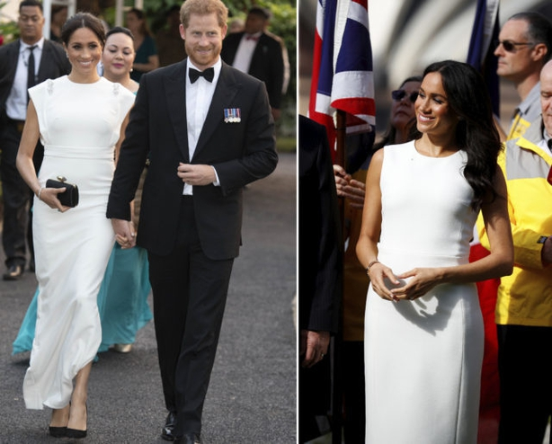 The Duke and Duchess of Sussex at Consular House in Tonga (left) and Admiralty House in Sydney (right) (PA)