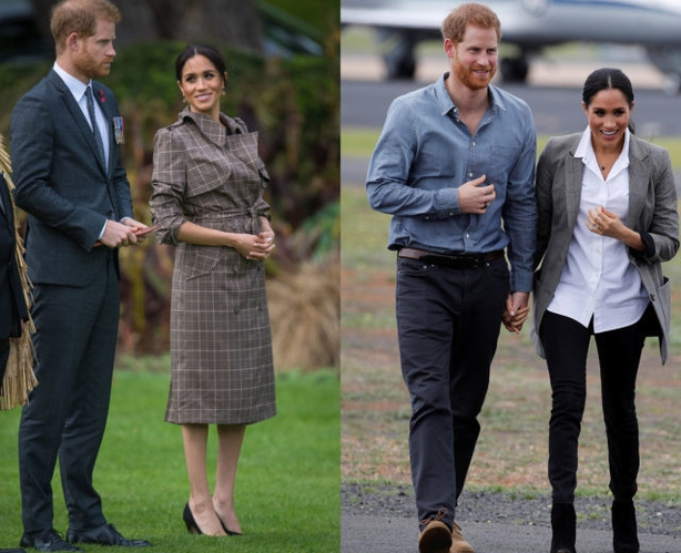 The Duke and Duchess of Sussex at Government House in Wellington, NZ (left) and arriving at Dubbo airport, Australia (right) (PA)