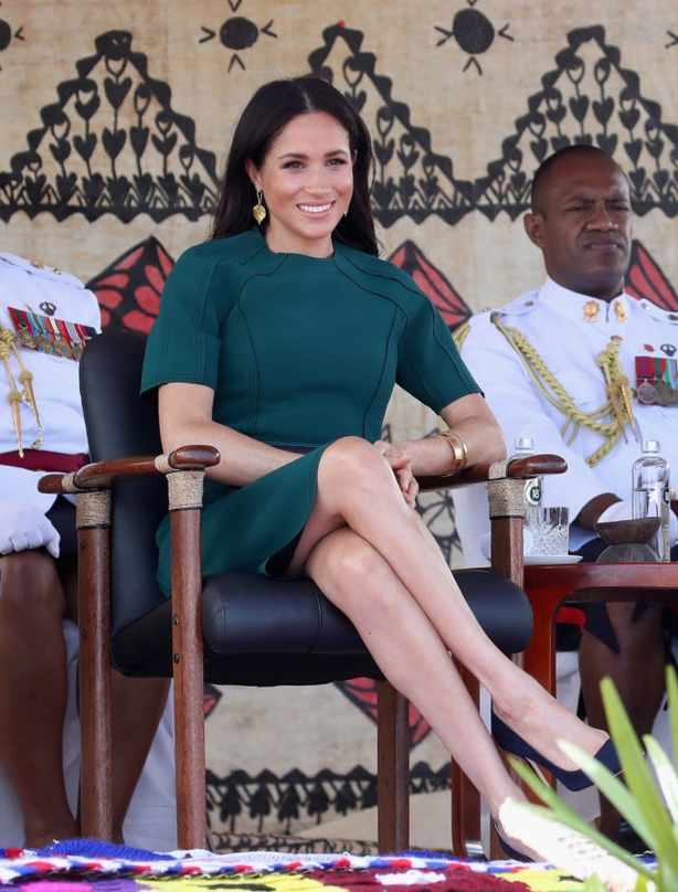 The Duchess of Sussex at the unveiling of a statue commemorating Sergeant Talaiasi Labalaba in Fiji (PA)