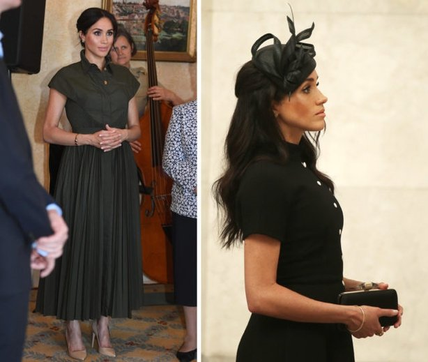 The Duchess of Sussex at a reception hosted by the Governor-General at Admiralty House in Sydney (left), and the Anzac Memorial in Hyde Park, Sydney (right) (PA)