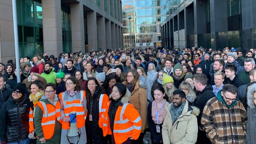 Staff in Dublin took part in the protest