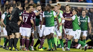 It was a heated game at Tynecastle