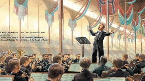 Gilmore conducting at the Peace Jubilee in Boston 1869