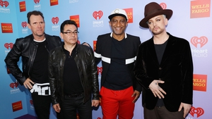 Recording artists Roy Hay, Jon Moss, Mikey Craig, and Boy George of music group Culture Club