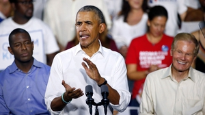 Barack Obama pictured at a campaign event in Florida