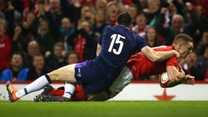 George North goes over for Wales