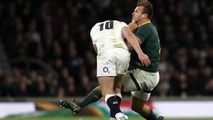 Owen Farrell (L) escaped sanction for this tackle on South Africa's Andre Esterhuizen