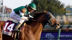 Joel Rosario rides Accelerate to victory in the Breeders' Cup Classic