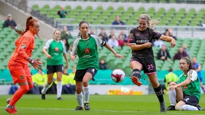 Katrina Parrock volleys home the opening goal for Wexford Youths