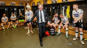 Stephen Kenny celebrates in the dressing room