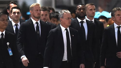 Schmeichel and his Leicester team mates at the funeral in Thailand