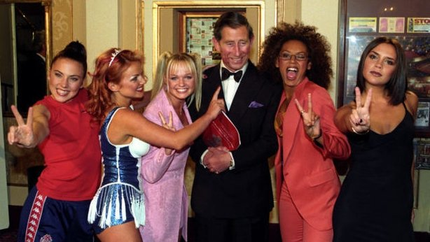 Prince of Wales with the Spice Girls at the Royal Gala celebrating the Princes Trust 21st Anniversary  (John Giles/PA)