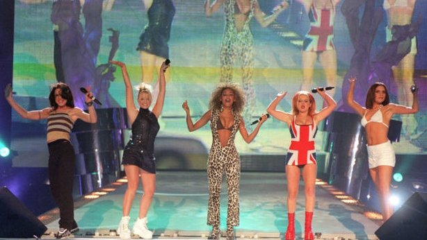 The Spice Girls perform on stage at the Brit Awards ceremony in London (Fiona Hanson/PA)