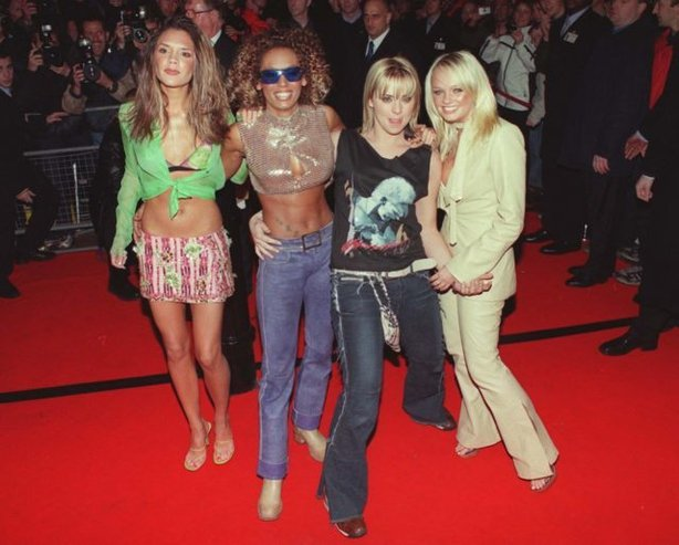 The Spice Girls (left - right) Posh, Victoria Beckham, Scary, Mel B, Sporty, Mel C Baby, Emma Bunton arriving at Red Cube in London's Leicester Square for the Launch party of their new album 'Forever'.