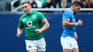 Jordan Larmour ran in a hat-trick of tries against Italy on Saturday