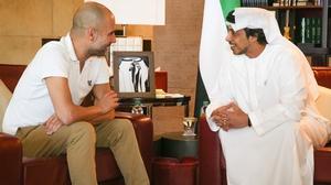 Pep Guardiola meets his employer, Sheikh Mansour bin Zayed Al Nahyan
