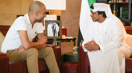 Pep Guardiola meets his employer, Sheikh Mansour bin Zayed Al Nahyan