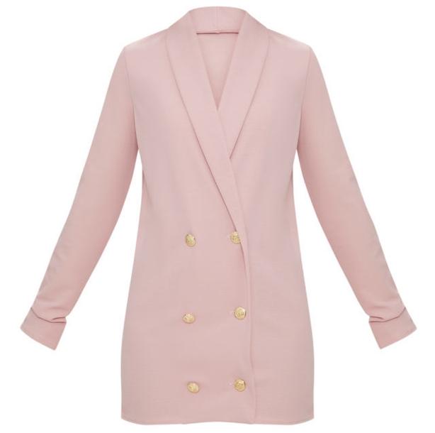 Petite Dusky Pink Gold Button Blazer Dress
