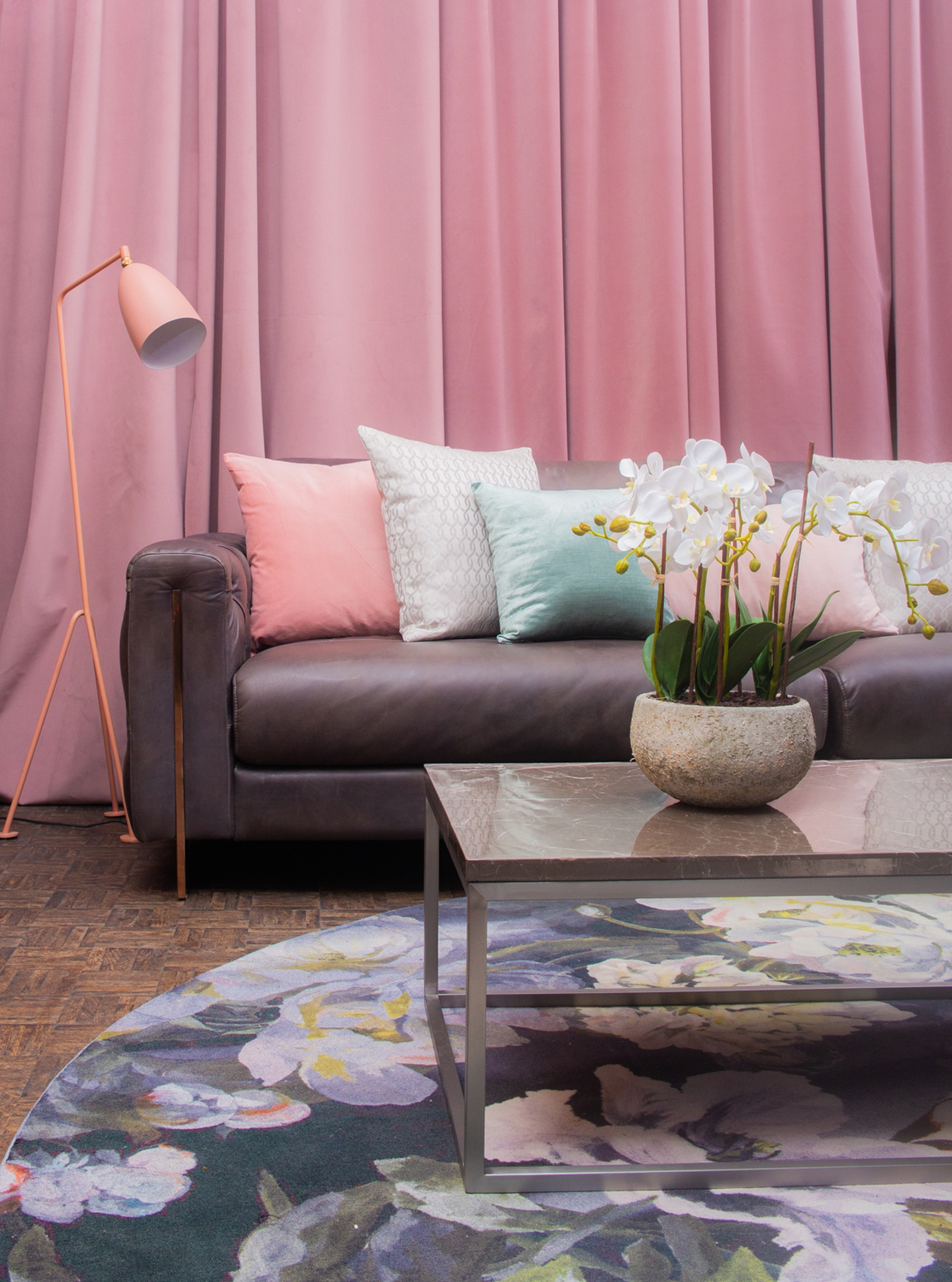 Image - Italian Glamour featured blush pink with 70s inspired gold lighting