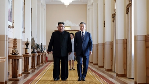 South Korean president Moon Jae-in and North Korean leader Kim Jong Un before their meeting in Pyongyang, North Korea in September 2018. Photo: Pyeongyang Press Corps/Pool/Getty Images