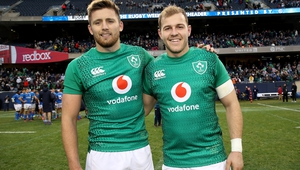 Will Addison (R) pictured with fellow debuant Ross Byrne after Ireland v Italy