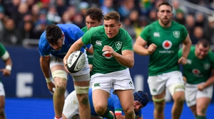 Jordan Larmour scored a hat-trick on his full debut for Ireland