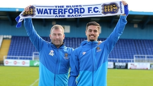 Waterford manager Alan Reynolds with new signing Zack Elbouzedi. Photo credit: Noel Browne