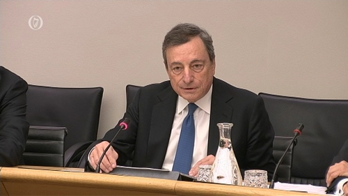 ECB President Mario Draghi is before the Committee on Finance, Public Expenditure and Reform and Taoiseach today