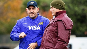 Argentina head coach Mario Ledesma (L) with Leinster backs coach Felipe Contepomi