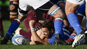 Mattia Bellini of Italy presents the ball at the base of a ruck