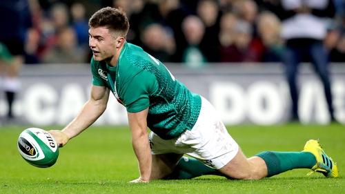 Luke McGrath touches down Ireland's third try