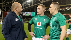 Rory Best chats to Keith Earls and Andrew Conway after the match
