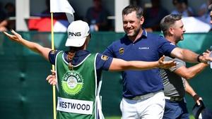 Lee Westwood celebrates his win