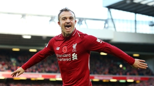 Shaqiri celebrates his goal for the Reds