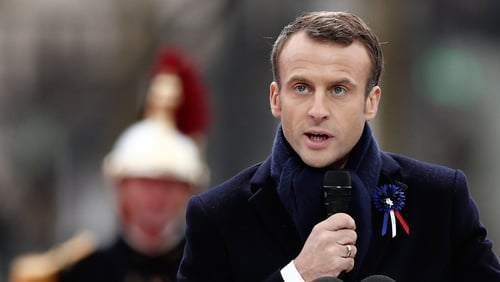 "Emmanuel Macron urged dozens of world leaders to come together for a joint ""fight for peace"""
