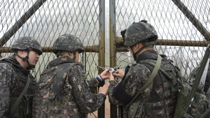 South Korean soldiers, locking a guard post on the Demilitarized Zone in Gangwon-do, South Korea