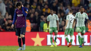 Leo Messi cuts a dejected figure at the Nou Camp