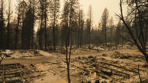 A view of a mobile home park that was destroyed by the Camp Fire in Paradise