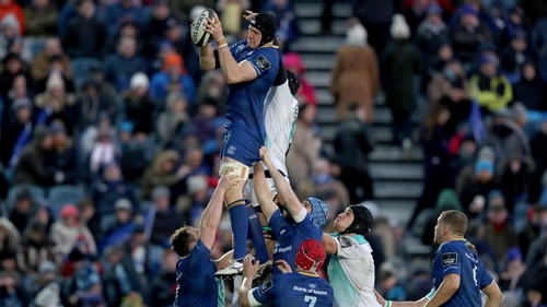 Ian Nagle claims a line out against Connacht earlier this year